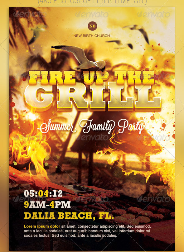 Fire Up The Grill barbecue flyer template