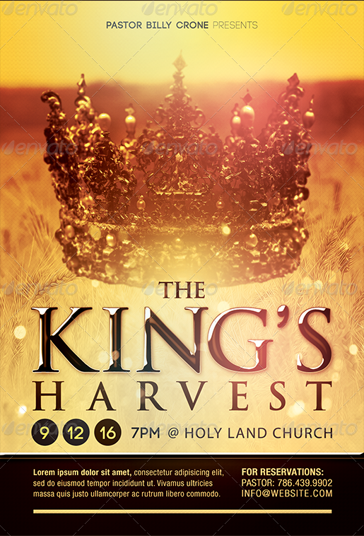 the kings harvest gospel concert flyer template preview