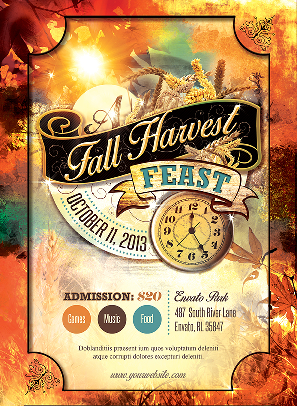 This Spiritual Harvest Church Flyer Template can be used for your Sermons, Gospel Concerts, Youth programs, etc. In this package you'll find 1 Photoshop file. All text and graphics in the files are editable, color coded and simple to edit. The file also has 5 beautiful one-click color options. Image Credits Fuzzy Green Field by Julia Starr http://night-fate-stock.deviantart.com/art/fuzzy-green-field-215010419?q=gallery%3Anight-fate-stock%2F28174348&qo=48