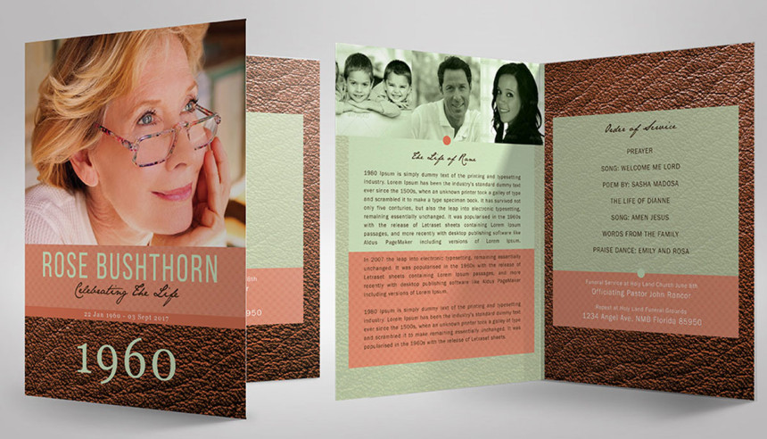 Amazing Funeral Program Booklet Templates  Seraphimchris Graphic